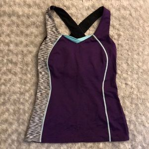 Lucy purple work out top with built in sports bra